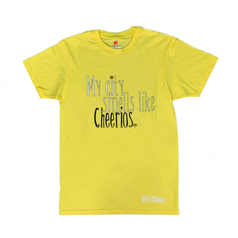 """My City Smells Like Cheerios"" Yellow Tee"