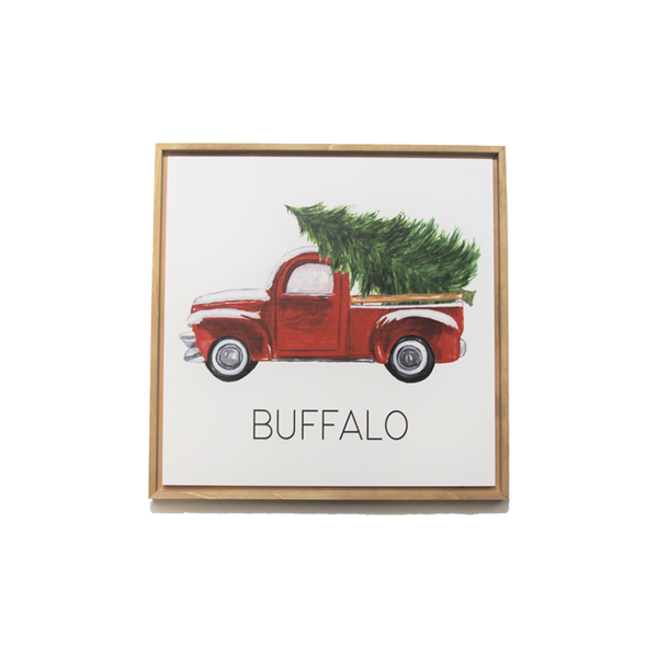 Red Christmas Truck Buffalo Decor Sign