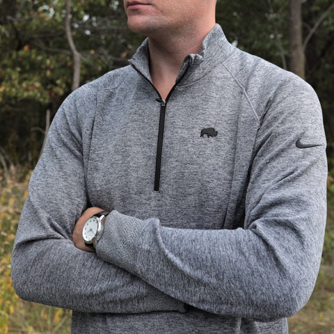 NIKE Heather Black Players Half Zip Pullover