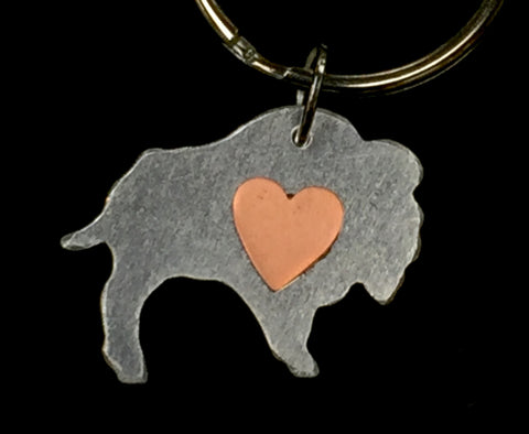 Buffalo Heart Keychain
