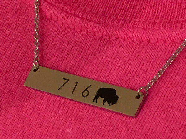 716 Buffalo Stainless Steel Bar Necklace