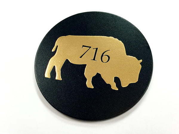 716 Gold Buffalo Leatherette Coaster
