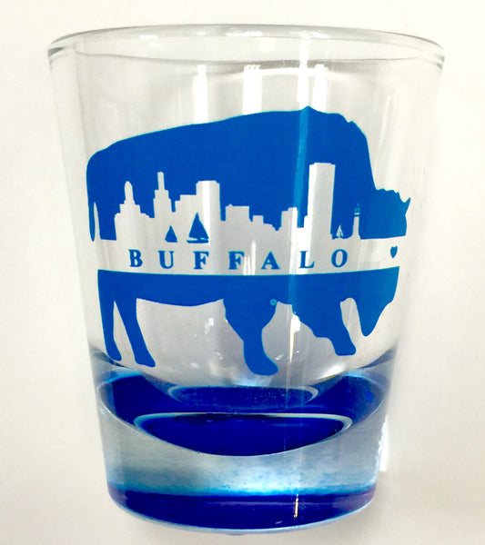 Buffalo Neon Blue Shot Glass