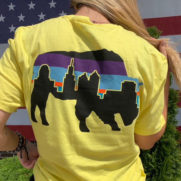 Sunlight Yellow Buffalo Multi-Colored Skyline T-Shirt