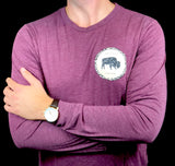 BFLO Heather Maroon Rope Design Long Sleeve Tee