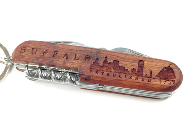 Buffalo Engraved Wooden Pocket Knives