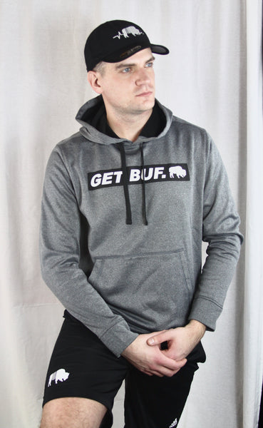 BFLO GET BUF. Heather Grey Performance Hoodie