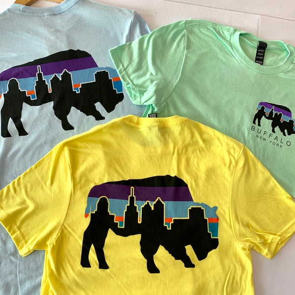 Mint Green Buffalo Multi-Colored Skyline T-Shirt