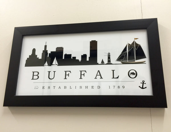 Buffalo Skyline Graphic Framed