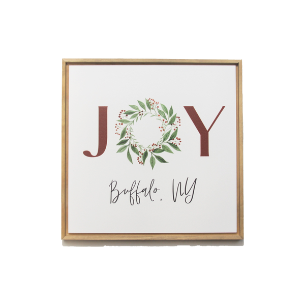 Buffalo NY, Joy Wreath Decor Sign