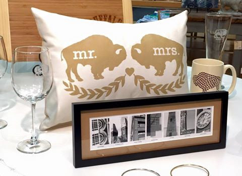Mr. & Mrs. Buffalo Wedding Pillow