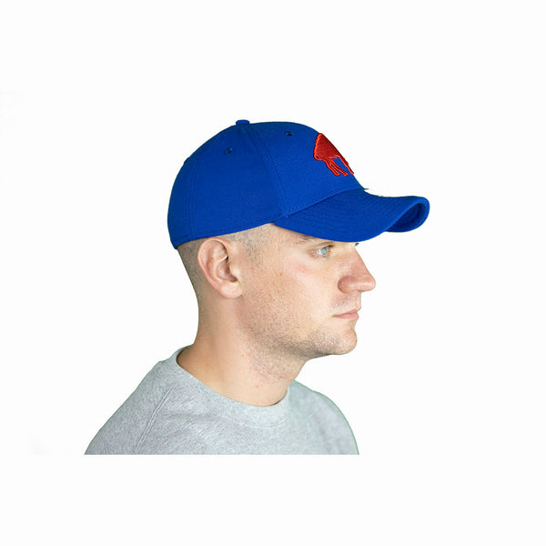 BLUE & RED FITTED THROWBACK BUFFALO BILLS CAP