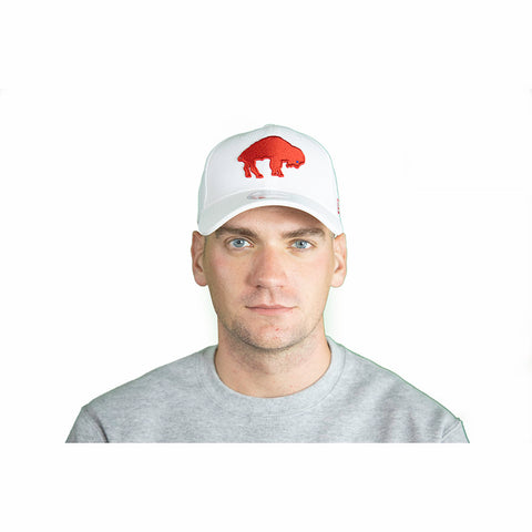 WHITE & RED FITTED THROWBACK BUFFALO BILLS CAP