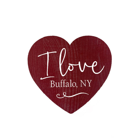 I love buffalo wooden heart