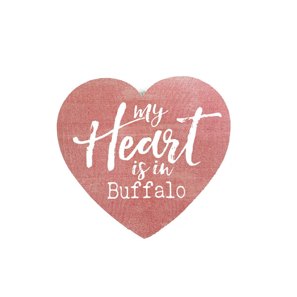 My heart is in buffalo wooden heart