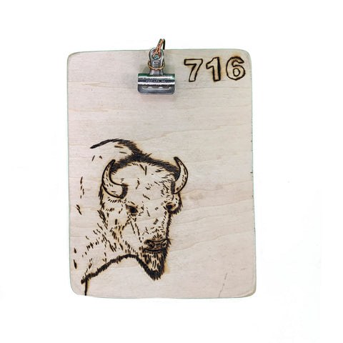 Buffalo Engraved Wooden Clip Board