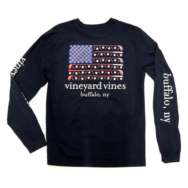 Vineyard Vines Golf Flag Navy Pocket Long Sleeve Tee
