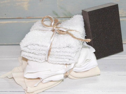 Sanding Sponge and Buffing Cloths
