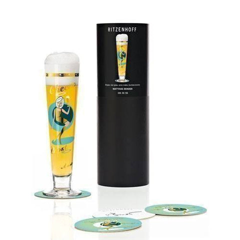 Ritzenhoff Cheers Lady Beer Glass with Coasters