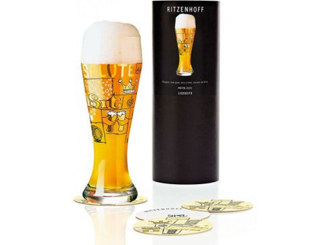 Ritzenhoff Salute Beer Glass with Coasters