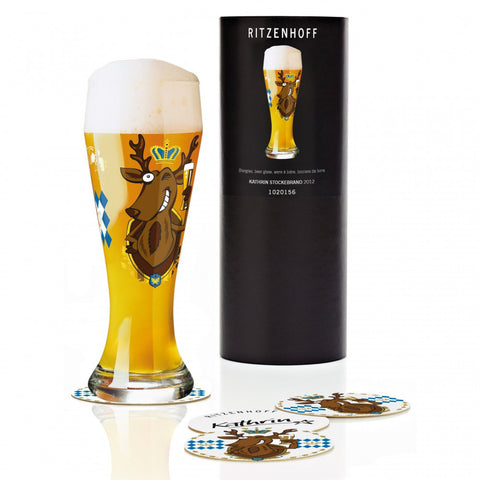 Ritzenhoff Cheeky Rudolf Beer Glass with Coasters