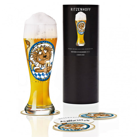 Ritzenhoff Jungle King Beer Glass with Coasters