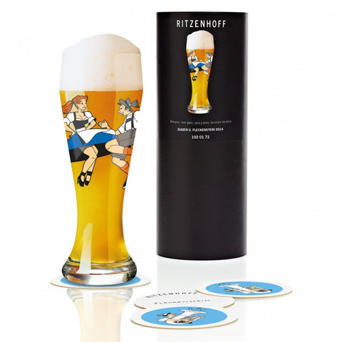 Ritzenhoff Just One Dance Beer Glass with Coasters