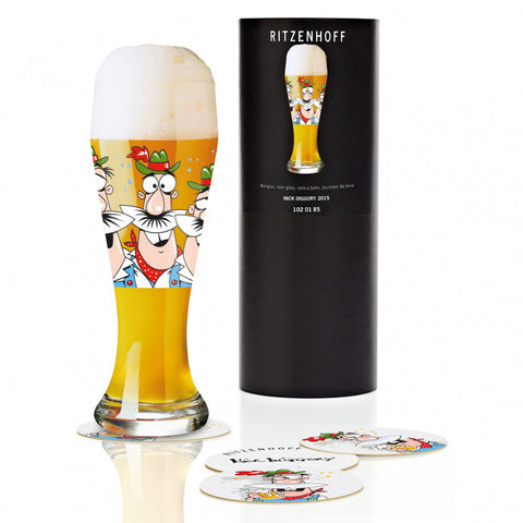 Ritzenhoff Hola Amigos Beer Glass with Coasters