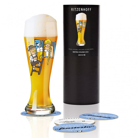 Ritzenhoff Rapunzel Beer Glass with Beer Coasters