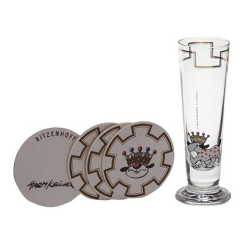 Ritzenhoff Ruling Puppy Schnapps Shot Glass with Coasters