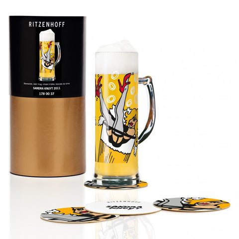 Ritzenhoff Hi Honey Beer Mug with Coasters