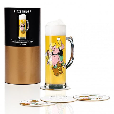 Ritzenhoff Let's Be Merry Beer Mug with Coasters