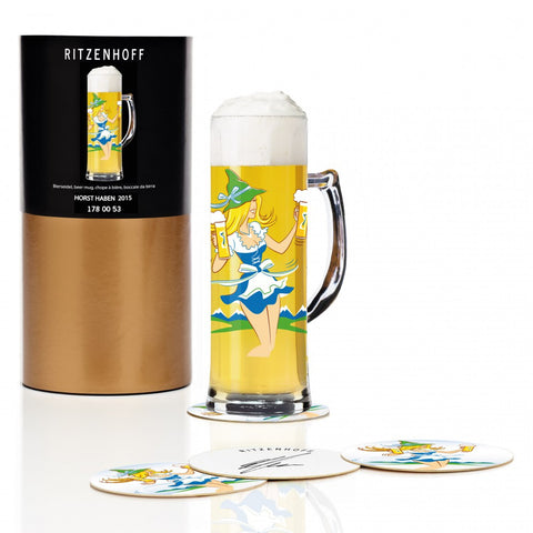 Ritzenhoff Lady with Beer Beer Mug with Coasters