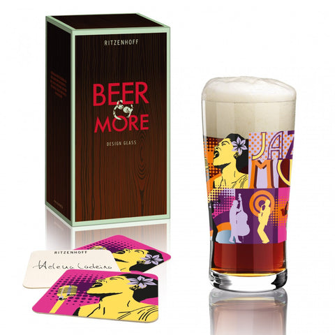 Ritzenhoff Jazz Music Beer and More Glass with Coasters