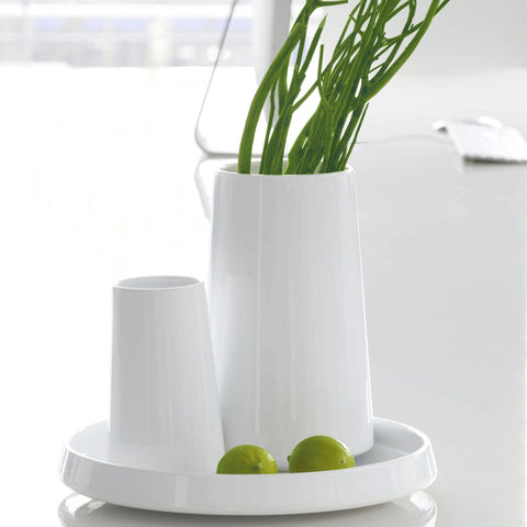 ASA Float Design White Glossy Vase, Small