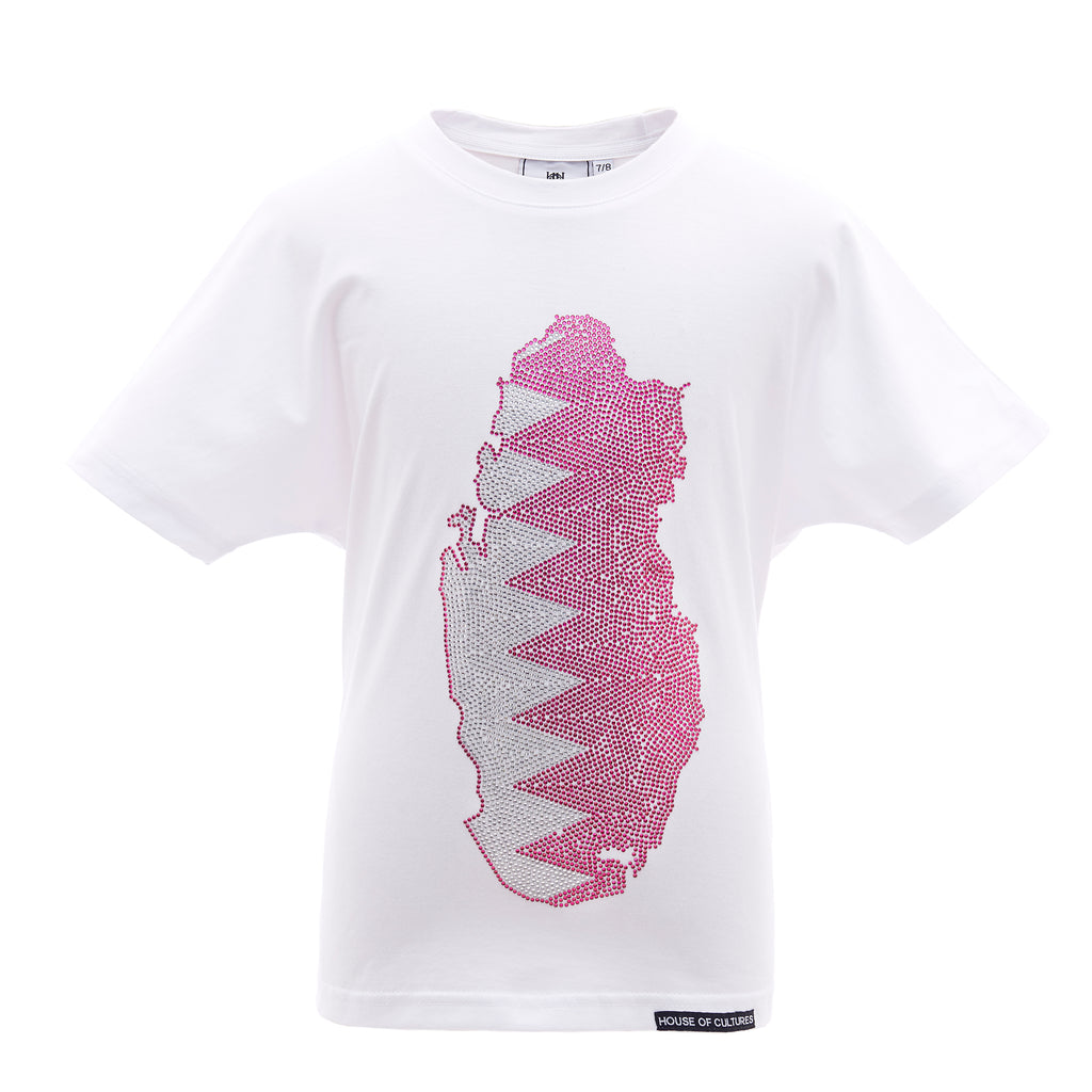 Qatar in swarovski crystals T-shirt