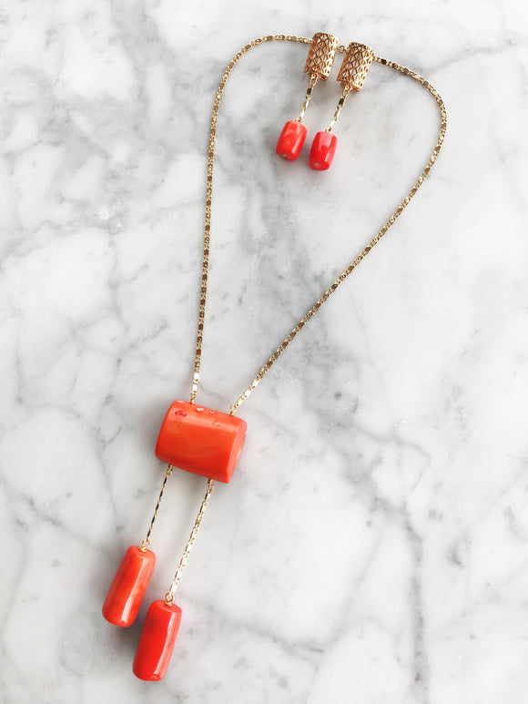 CORAL NECKLACE SET