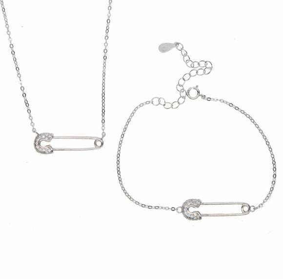 925 STERLING SILVER SAFTY PIN NECKLACE AND BRACELET