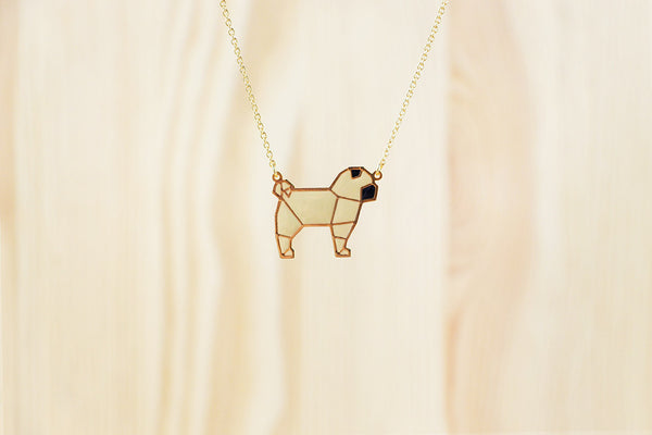 Origami Pug Necklaces
