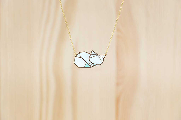 Arctic Fox (Sleeping) Necklace