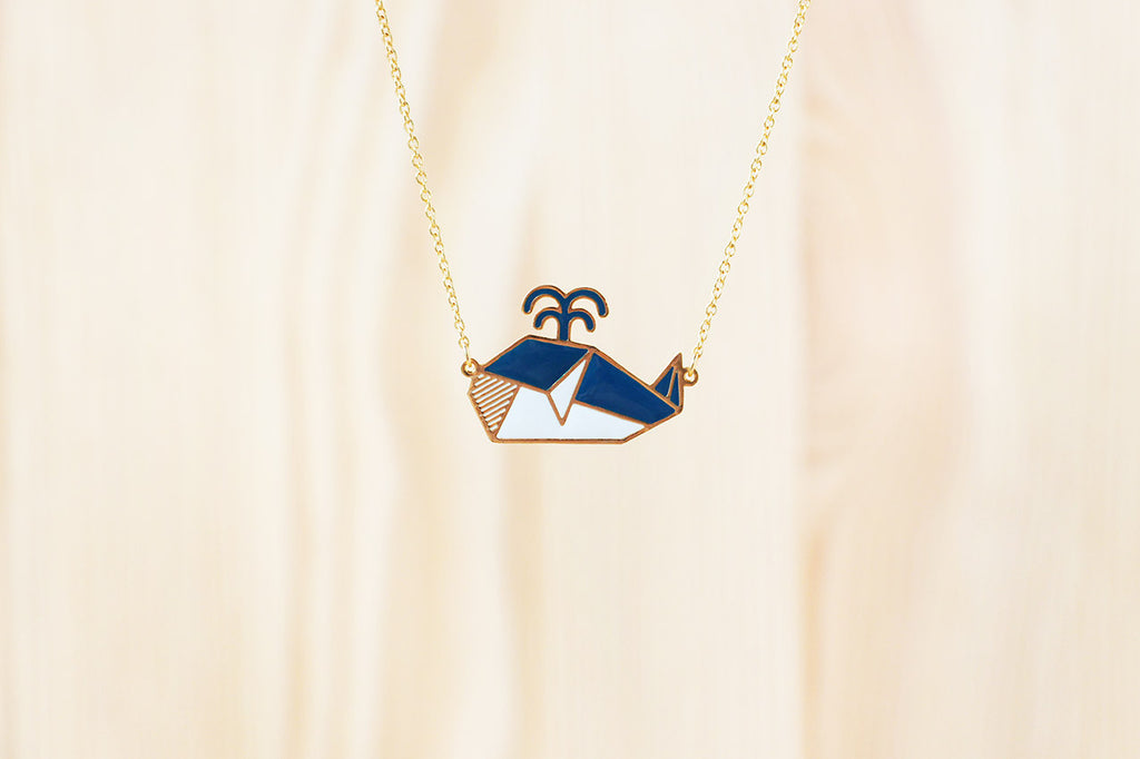 Origami Whale Necklaces
