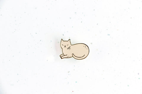Pink Lying Cat Brooch