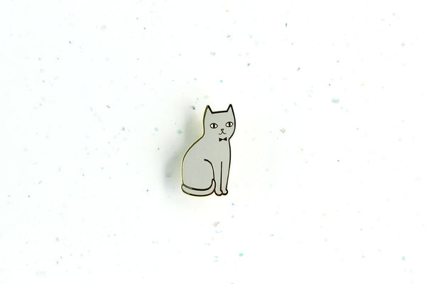 Sitting Grey Cat Brooch