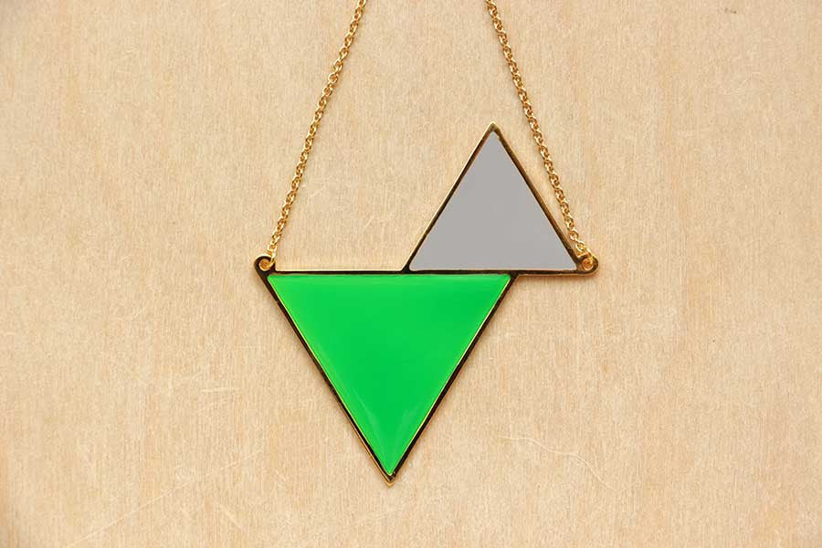 Twin Triangle Necklaces (Grey Series)