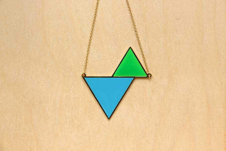 Twin Triangle Necklaces (Cyan Series)