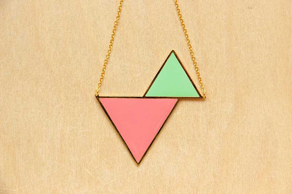Twin Triangle Necklaces (Green Series)