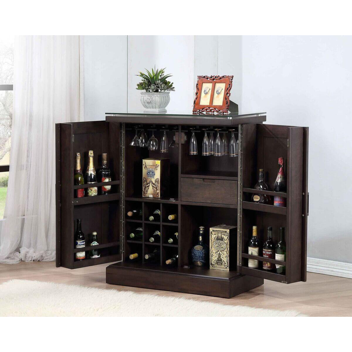 eci furniture rum pointe expandable bar cabinet in black