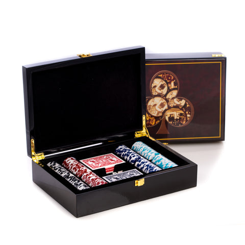 beyberk inlaid in a lacquer wood box card and chips set g514 home - Poker Sets