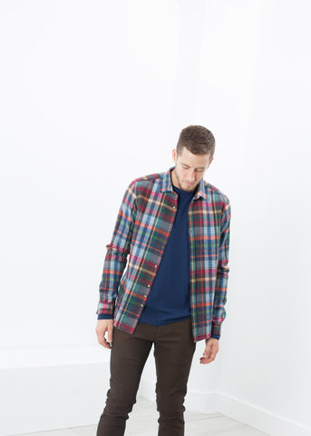 Riccardo Button-Up in Plaid Multi