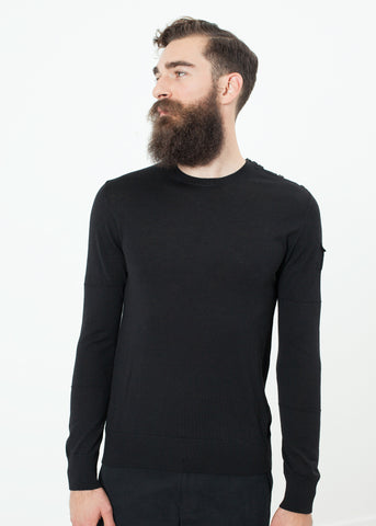 Button Shoulder Pullover in Black
